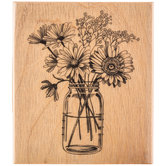 Floral Mason Jar Rubber Stamp